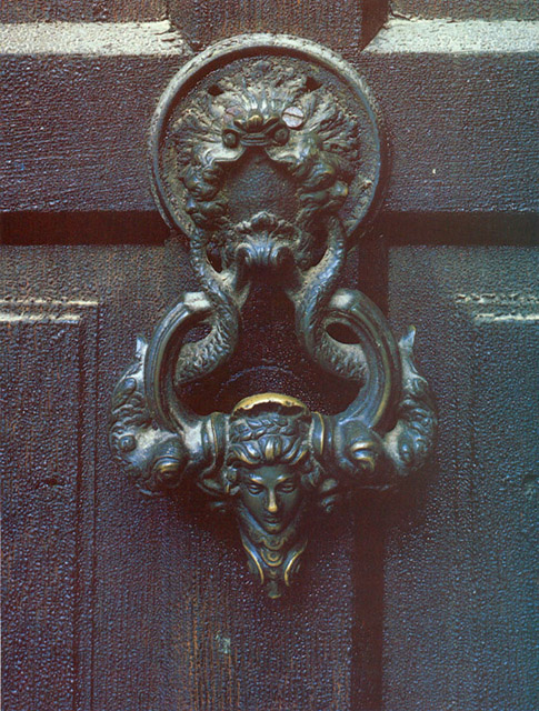 An ornate door knocker greets visitors intrepid enough to enter what some believe was a vampire's inner sanctum.