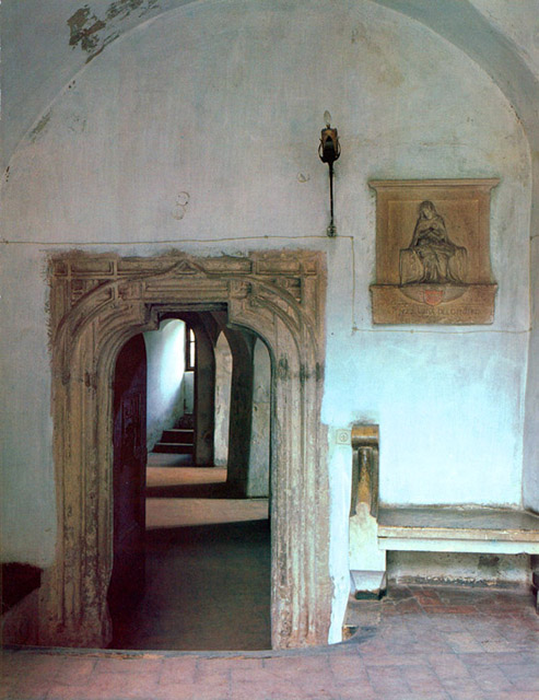 A late-Gothic sandstone portal embellishes the entrance to the Guards' Room